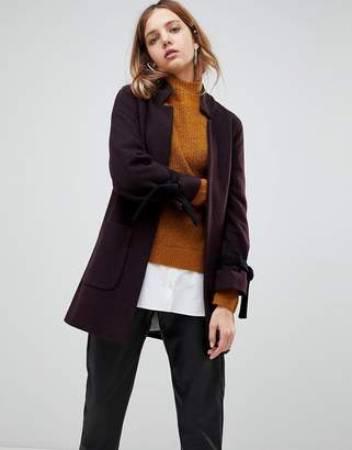 Helene Berman Wool and Cashmere Blend Notch Collar Coat with Tie Cuffs