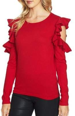 CeCe Ruffle Cold Shoulder Top