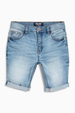 Boys Mid Blue Denim Shorts (3-16yrs) - Blue