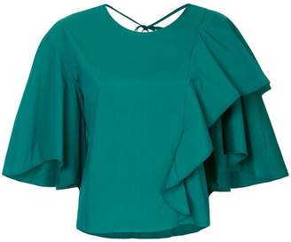 Le Ciel Bleu ruffle flared short-sleeve top