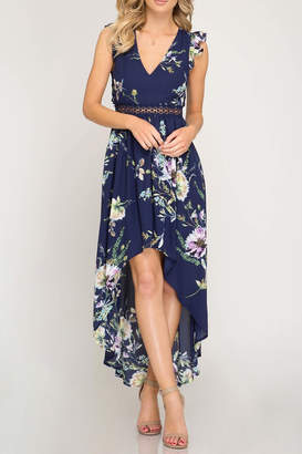 She + Sky Open-Back Floral Maxi