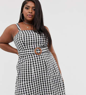 d7dca666777f5 Asos DESIGN Curve square neck linen mini sundress with wooden buckle in  mono gingham