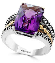 Effy Sterling Silver and 18K Yellow Gold Amethyst Ring