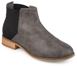 Brinley Co. Women's Faux Leather Gore Back Two-tone Booties
