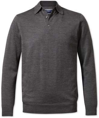Charles Tyrwhitt Charcoal Wool Polo Collar Merino Wool Jumper Size Large