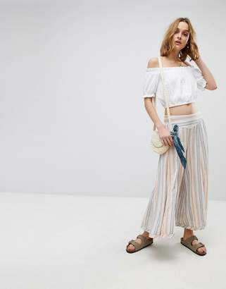 Free People Blaire Pull On Stripe Wide Leg Pant