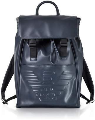 Emporio Armani Navy Blue Embossed Eagle Backpack