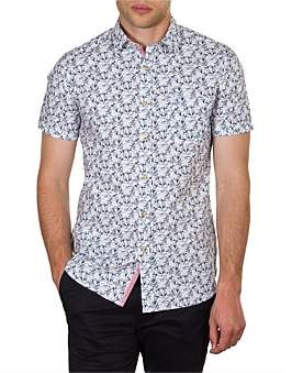 James Harper Derby Short Sleeve Botanical Print Slim Fit Shirt