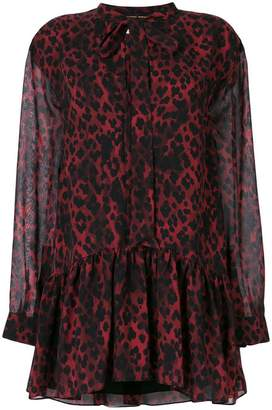 Saint Laurent leopard print tie neck mini dress