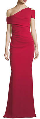 Talbot Runhof Off-the-Shoulder Fishtail Stretch-Crepe Evening Gown