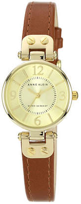 Anne Klein Gold Tone Round Brown Strap Watch