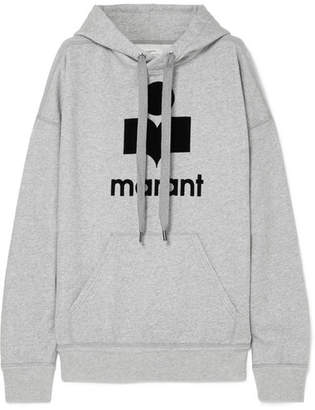 Etoile Isabel Marant Mansel Flocked Cotton-blend Jersey Hoodie - Gray