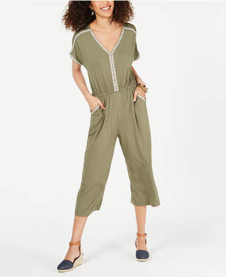 Style&Co. Style & Co Embroidered V-Neck Jumpsuit
