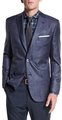 Boss Hugo Boss Johnston Silk Two-Button Jacket, Blue $845 thestylecure.com
