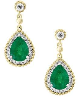 Bloomingdale's Emerald & Diamond Beaded Earrings in 14K White & Yellow Gold - 100% Exclusive