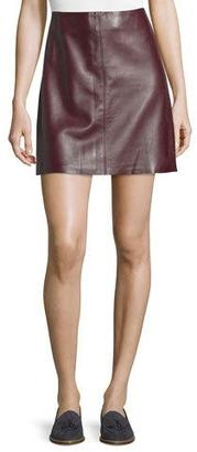 Theory Irenah Wilmore Leather Miniskirt, Garnet $675 thestylecure.com