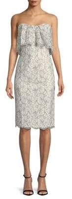 Black Halo Floral Strapless Sheath Dress