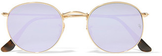 Ray-Ban - Round-frame Gold-tone Mirrored Sunglasses - Lilac $175 thestylecure.com