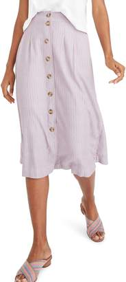 Madewell Patio Lilac Stripe Button Front Midi Skirt