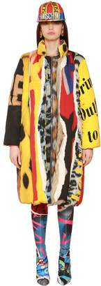 Moschino Printed Matt Satin Long Down Jacket