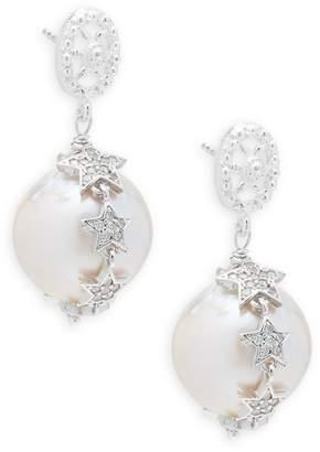 Azaara Women's 22K White Gold and Faux Pearl Star Drop Earrings