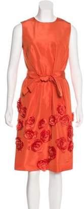 Isaac Mizrahi Silk Knee-Length Dress Orange Silk Knee-Length Dress