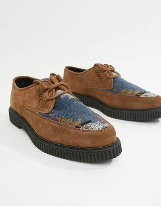 Asos Design DESIGN lace up shoes in tan suede with aztec print and creeper sole