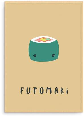 Born Lucky - Japanese Yellow Futomaki Sushi Illustration Nursery Art Print