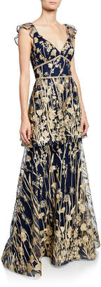Marchesa V-Neck Sleeveless Tiered Floral-Embroidered Gown w/ Metallic Scallop Trim