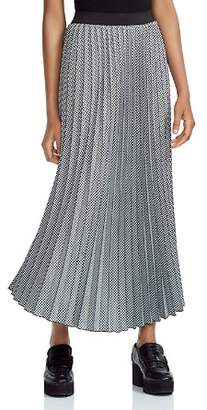 Maje Jazia Checked Pleated Midi Skirt