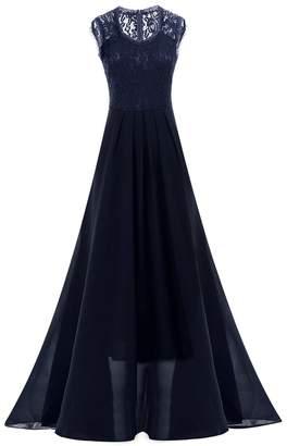 IWEMEK Women Vintage Deep V Neck Bridesmaid Wedding Maxi Gown Long Evening Dress