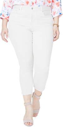 NYDJ Sheri High Rise Fray Hem Stretch Slim Ankle Jeans