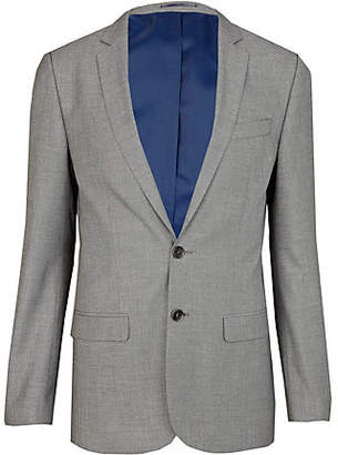 River Island Mens Light Grey skinny suit jacket
