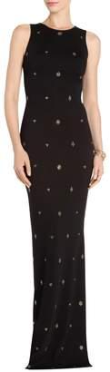 St. John Shimmer Milano Knit Jewel Neck Halter Gown
