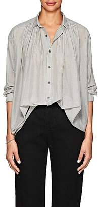 Pas De Calais Women's Striped Cotton-Silk Voile Blouse - White