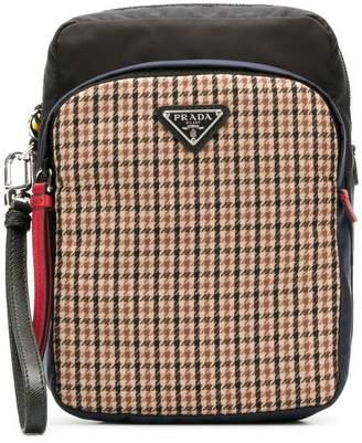 Prada zipped logo plaid pouch