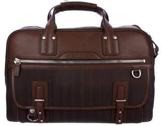 Ghurka Leather-Trimmed Herringbone Briefcase