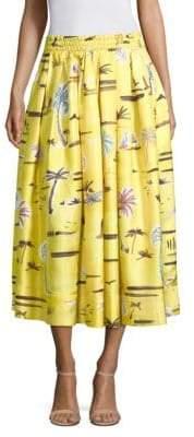 Agnona Silk Pleat Bahamas Print Skirt