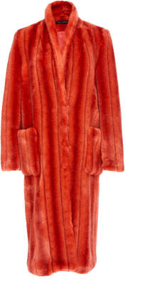 Sally LaPointe Striped Faux Fur Tailored Coat