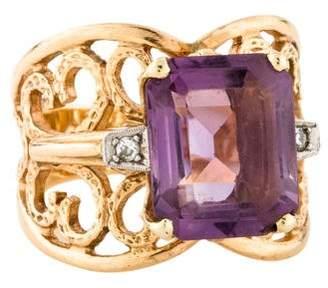 Ring 14K Amethyst & Diamond