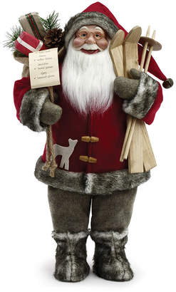 Roman 18 Inch Santa Figure With Skis And Fur Tree Topper