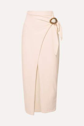 Nanushka Sasha Belted Cotton-blend Terry Midi Wrap Skirt - Off-white