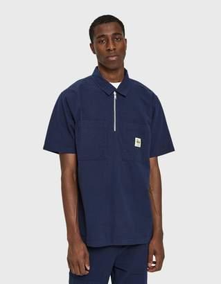 Stussy Half Zip Seersucker Shirt in Navy