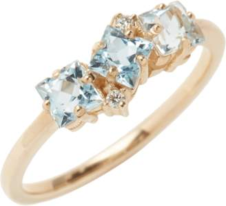 Suzanne Kalan Blue Topaz and Diamond Baguette Ring