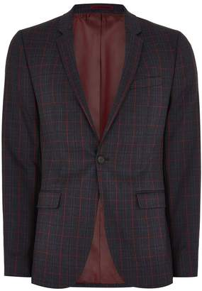 Navy and Red Check Ultra Skinny Suit Jacket