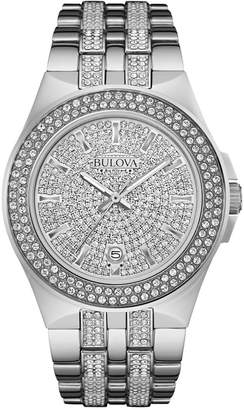 Bulova Men's Pave Crystal Stainless Steel Bracelet Watch 42mm 96B235