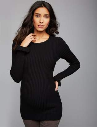 A Pea in the Pod Rib Knit Ruffled Sleeve Maternity Sweater