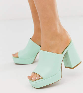 Asos Design DESIGN Wide Fit Happy chunky platform mules in mint