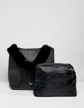 Dune Dixiee Black Faux Croc Tote Bag With Faux Fur Handle And Detachable Strap