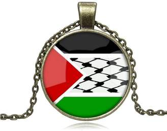 Charm & Chain LEO BON Women Pendant Gift The State of Palestine National Flag Glass Cabochon Choker Sterling Charm Chain Pendant Necklac